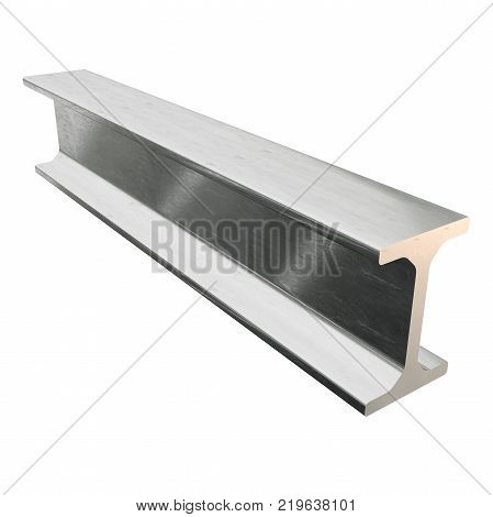 Steel metallurgy I-beam profile 3d render isolated on white background