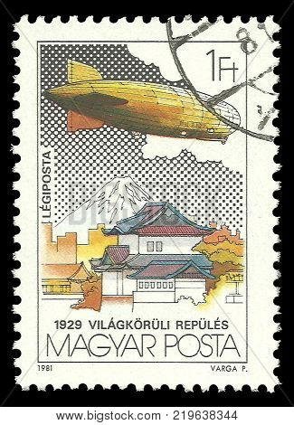 Hungary - circa 1981: Stamp printed by Hungary Color edition on topic of Aeronautics shows Fly Around the World circa 1981