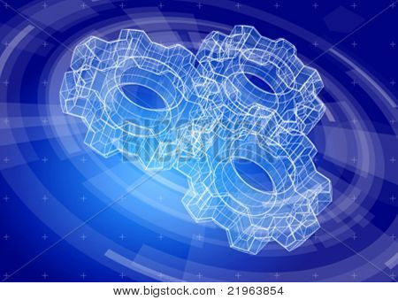 Gears on a blue radial technology background. Vector illustration. Eps10