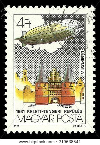 Hungary - circa 1981: Stamp printed by Hungary Color edition on topic of Aeronautics shows Holsten Tor Lubeck circa 1981
