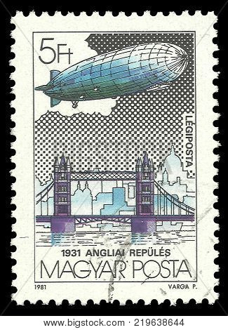 Hungary - circa 1981: Stamp printed by Hungary Color edition on topic of Aeronautics shows Tower Bridge England circa 1981