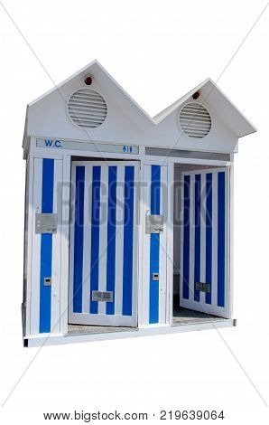 WC cabin. old fashioned beach public restroom in blue and white isoalted over white.