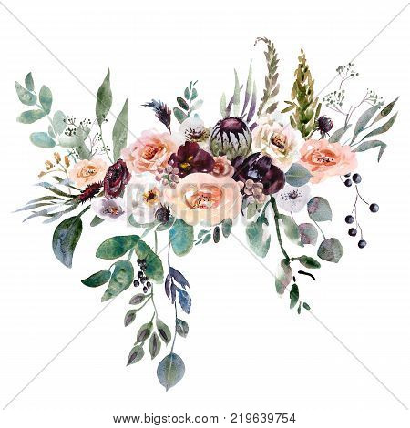 Hand drawing watercolor Wedding bridal bouquet. green and purple flowers ornament