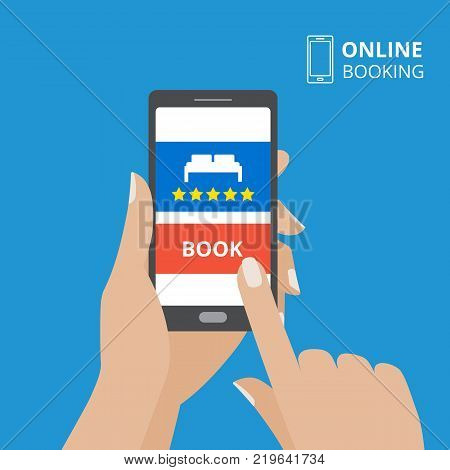 Design concept of hotel booking online. Hand holding smartphone with book button and bed icon on screen. Mobile application for renting accommodations. poster