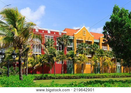 Landscaping and Palm Trees at Curacao Resort