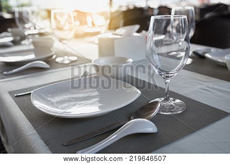 dinning table in the restaurant, object food concept