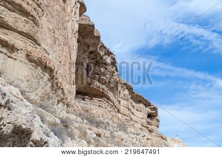 Near Mitzpe Yeriho Israel November 25 2017 : Caves of hermits in the monastery of St. George Hosevit (Mar Jaris) in Wadi Kelt near Mitzpe Yeriho in Israel