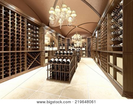 3d render of interior view of wine store