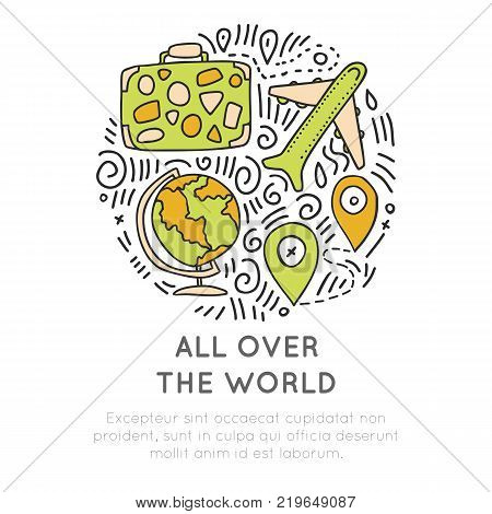 Around the world icon hand draw cartoon icon concept. Airplane, suitcase, travel bag and location icon in round form. Travelling around the world icon collection with decorative sketch and doodle elements isolated on white background