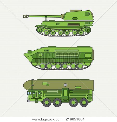 Line flat color vector icon set infantry assault army tank. Military vehicle. Cartoon vintage style. Soldiers. Armored. Corps. Weaponry. Tow tractor unit. Simple. Illustration, element for design. poster