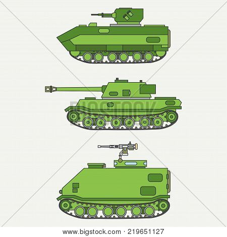 Line flat color vector icon set infantry assault army tank. Military vehicle. Cartoon vintage style. Soldiers. Armored. Corps. Weaponry. Tow tractor unit. Simple. Illustration, element for design.