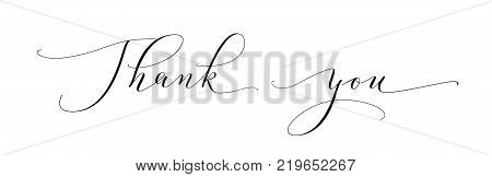 Thank you words, hand written custom calligraphy isolated on white. Elegant lettering with swirls and swashes. Great for cards, wedding invitations, social media banners, headers, photo overlays.