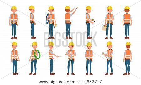 Electrician Worker Male Vector. Makes Electrical Equipment. Different Poses. Cartoon Character Illustration