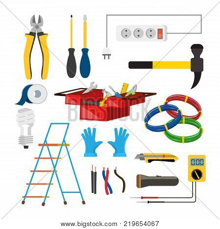 Electrician Icons Set Vector. Electrician Accessories. Stepladder, Gloves, Light Bulb, Wire, Screwdriver Lantern Knife Voltmeter Wire Isolated Illustration