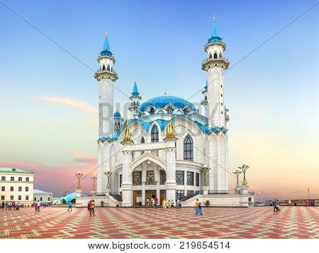 KAZAN, RUSSIA - August 18, 2016: Qolsharif (Kul Sharif) Mosque in the Kazan Kremlin on sunset background. (3)