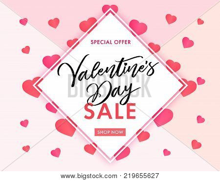 Valentines Day sale banner pink hearts. Valentines Day sale banner template with typography text special offer valentine`s day and pink hearts on background. Vector illustration
