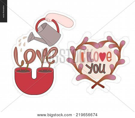 Set of contemporary girlie Love letter logo. Flowerpot with a plant in shape of Love word and watering can. Composition of leaves with Text Ilove You inside. Vector stickers kit.