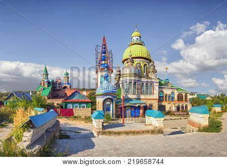 KAZAN, RUSSIA - August 20, 2016: Temple of All Religions (or Temple 7 religions or the Temple of Universe). Located in the village of Old Arakchino. Start of construction - 1994. Author - Ildar Khans. (3)