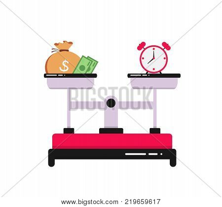 Time is money concept. Clock and money symbols on scale. Business finance. The concept of balance. Dependence of money and time. Business concept. Vector illustration.