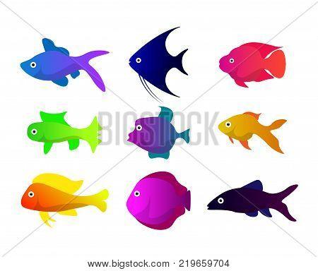 A set of nine aquarium fish. Bright colorful flat fish. Illustrations for children's books and encyclopedias. Cute fish icons set. Tropical, sea, aquarium inhabitants. Vector illustration.