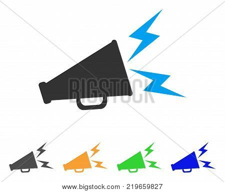 Alert Megaphone icon. Vector illustration style is a flat iconic alert megaphone symbol with gray, green, blue, yellow color versions. Designed for web and software interfaces.