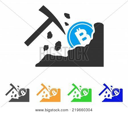 Bitcoin Mining Hammer icon. Vector illustration style is a flat iconic bitcoin mining hammer symbol with gray, green, blue, yellow color versions. Designed for web and software interfaces.