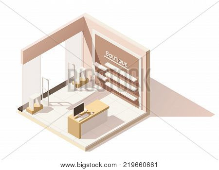 Vector isometric low poly boutique shop cutaway icon. Includes shop furniture and anti-theft gates