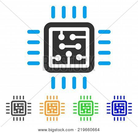 Cpu Circuit icon. Vector illustration style is a flat iconic cpu circuit symbol with gray, green, blue, yellow color versions. Designed for web and software interfaces.