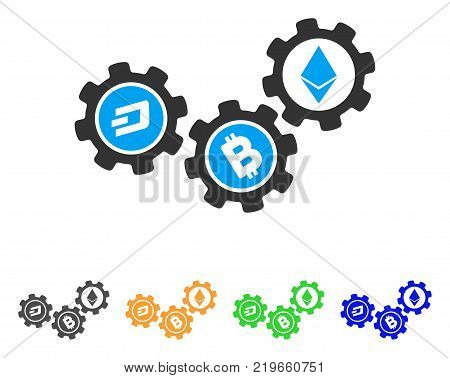 Cryptocurrency Conversion Gears icon. Vector illustration style is a flat iconic cryptocurrency conversion gears symbol with grey, green, blue, yellow color variants.