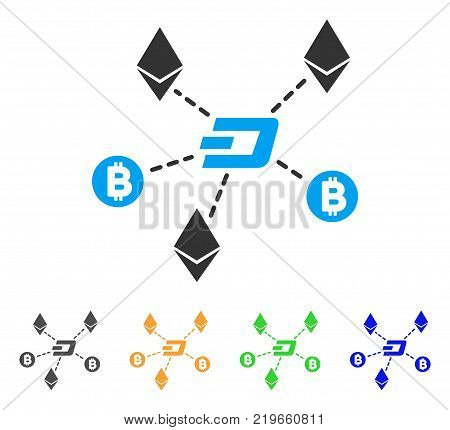 Cryptocurrency Relations icon. Vector illustration style is a flat iconic cryptocurrency relations symbol with grey, green, blue, yellow color variants. Designed for web and software interfaces.
