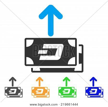 Dash Banknotes Pay Out icon. Vector illustration style is a flat iconic dash banknotes pay out symbol with grey, green, blue, yellow color versions. Designed for web and software interfaces.