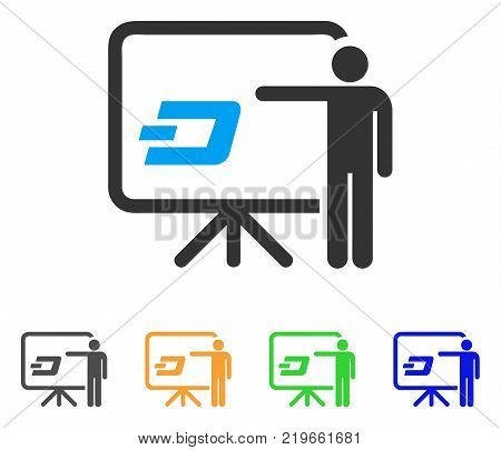 Dash Board Presentation Person icon. Vector illustration style is a flat iconic dash board presentation person symbol with gray, green, blue, yellow color variants.