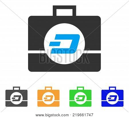 Dash Business Case icon. Vector illustration style is a flat iconic dash business case symbol with grey, green, blue, yellow color variants. Designed for web and software interfaces.