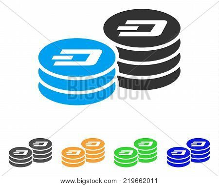 Dash Coin Columns icon. Vector illustration style is a flat iconic dash coin columns symbol with gray, green, blue, yellow color variants. Designed for web and software interfaces.