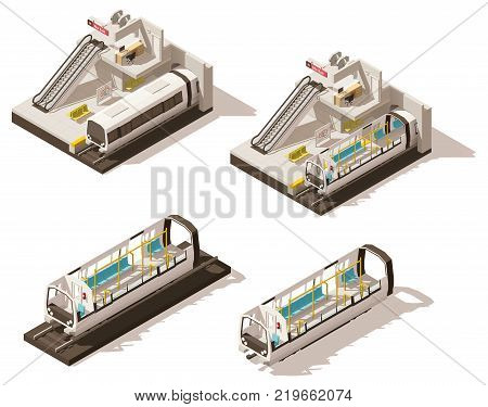 Vector isometric low poly subway train station cross-section. Includes escalator, subway entrance gates and train cross-section