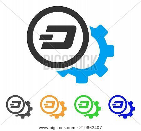 Dash Configuration Gear icon. Vector illustration style is a flat iconic dash configuration gear symbol with grey, green, blue, yellow color variants. Designed for web and software interfaces.