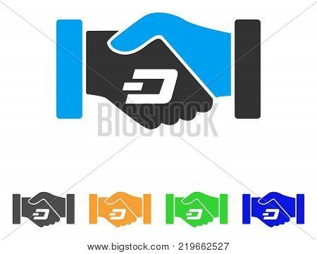 Dash Contract Hands icon. Vector illustration style is a flat iconic dash contract hands symbol with gray, green, blue, yellow color variants. Designed for web and software interfaces.