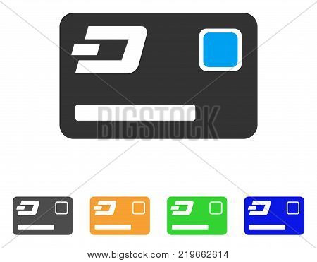Dash Credit Card icon. Vector illustration style is a flat iconic dash credit card symbol with gray, green, blue, yellow color versions. Designed for web and software interfaces.
