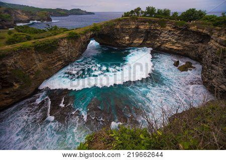 Broken beach is beautiful rock coastline in Nusa Penida island nex to Bali, Indonesia