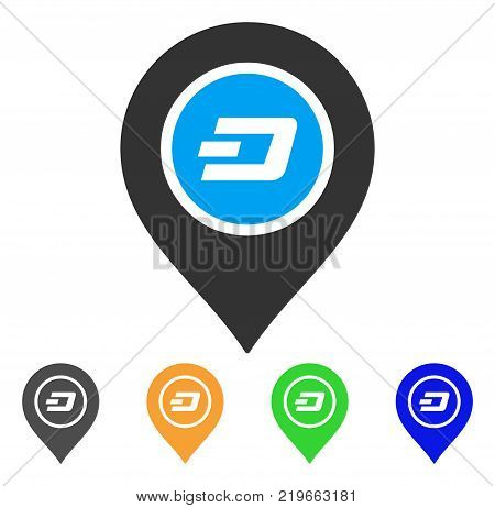 Dash Map Pointer icon. Vector illustration style is a flat iconic dash map pointer symbol with gray, green, blue, yellow color versions. Designed for web and software interfaces.
