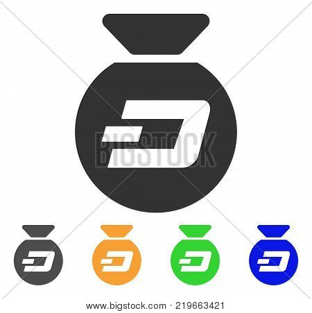 Dash Money Bag icon. Vector illustration style is a flat iconic dash money bag symbol with grey, green, blue, yellow color versions. Designed for web and software interfaces.
