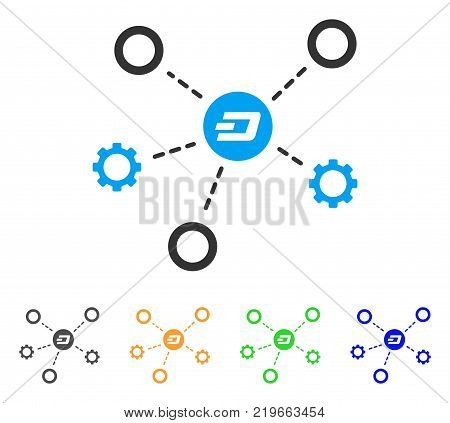 Dash Network Structure icon. Vector illustration style is a flat iconic dash network structure symbol with gray, green, blue, yellow color variants. Designed for web and software interfaces.