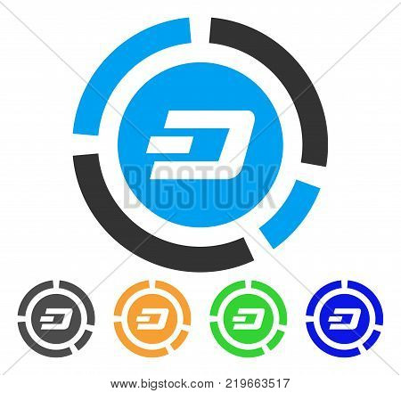 Dash Pie Chart icon. Vector illustration style is a flat iconic dash pie chart symbol with grey, green, blue, yellow color variants. Designed for web and software interfaces.