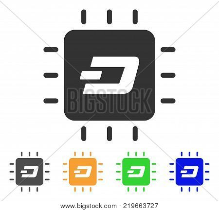 Dash Processor Chip icon. Vector illustration style is a flat iconic dash processor chip symbol with gray, green, blue, yellow color versions. Designed for web and software interfaces.