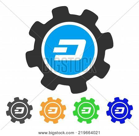 Dash Settings Gear icon. Vector illustration style is a flat iconic dash settings gear symbol with grey, green, blue, yellow color variants. Designed for web and software interfaces.