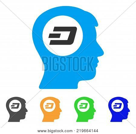Dash Think icon. Vector illustration style is a flat iconic dash think symbol with grey, green, blue, yellow color variants. Designed for web and software interfaces.