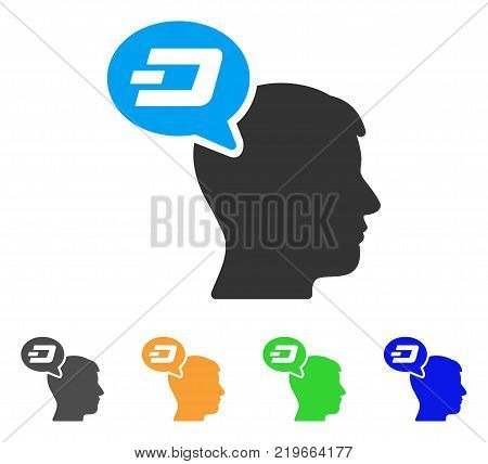 Dash Thinking Balloon icon. Vector illustration style is a flat iconic dash thinking balloon symbol with gray, green, blue, yellow color versions. Designed for web and software interfaces.