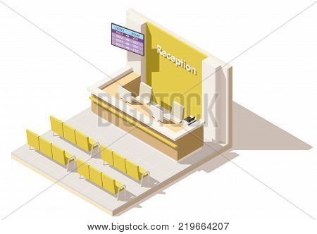Vector isometric low poly hospital reception. Includes reception desk, seats and queue system display