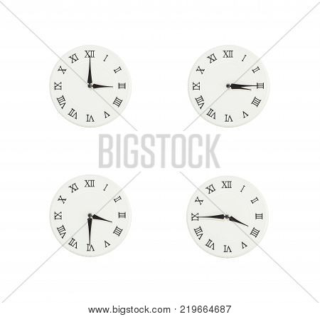Closeup group of white clock with shadow for decorate show the time in 3 3:15 3:30 3:45 p.m. isolated on white background beautiful 4 wall clock picture in different time