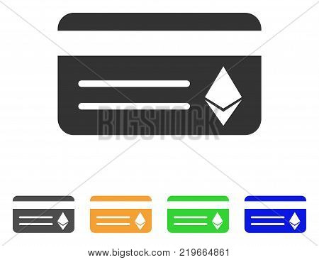Ethereum Banking Card icon. Vector illustration style is a flat iconic ethereum banking card symbol with grey, green, blue, yellow color versions. Designed for web and software interfaces.